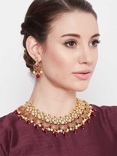 Gold Plated Red Kundan Meena Studded Jewellery Set