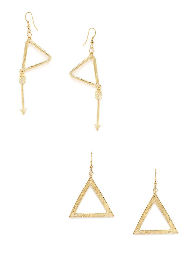 Golden Geometrical Western Earrings Combo