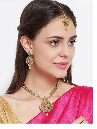 Golden Pendant Necklace Set For Wedding