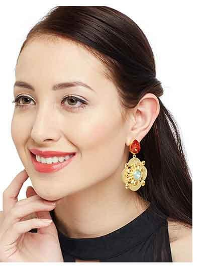 Le Mignon Statement Topal and Red Lake Opal Designer Party Wear Earrings