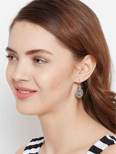 Oxidized Silver Coin Earrings