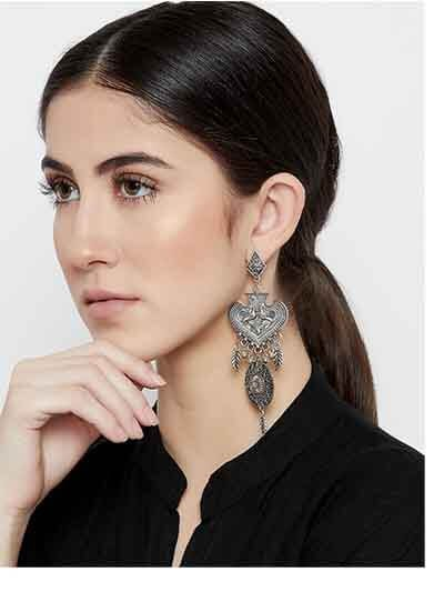 Peacock Embellished Floral Tribal Jewellery Danglers