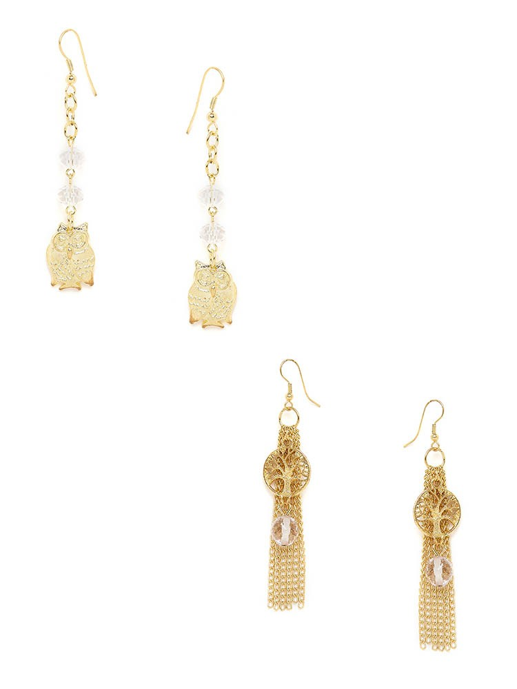 Golden Owl and Tree Western Earrings Combo
