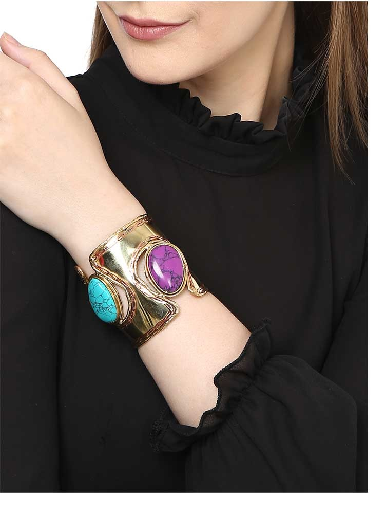 Chunky Purple Turquoise Brass Bracelet Cuffs