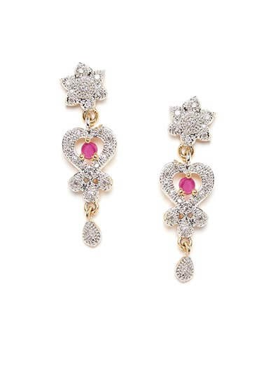 American Diamond Spade Earrings with Red Stone