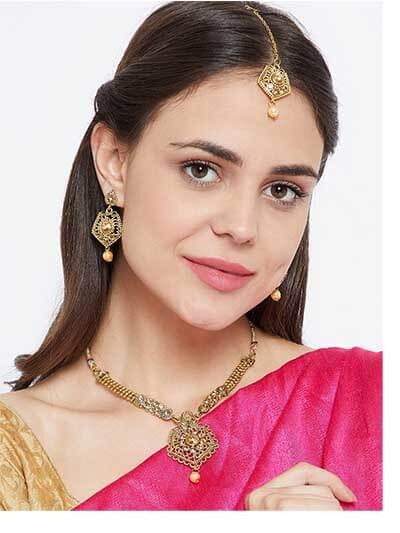 Rose Gold Stone Embellished Golden Necklace Jewellery Set for Wedding