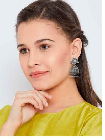 Floral Silver Plated Classic Brass Earrings For Women
