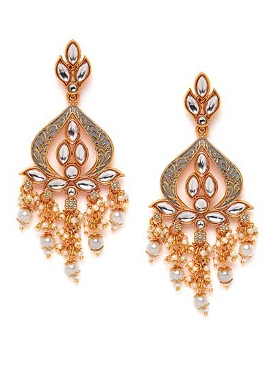 Golden and Grey Gold-Plated Kundan Earrings