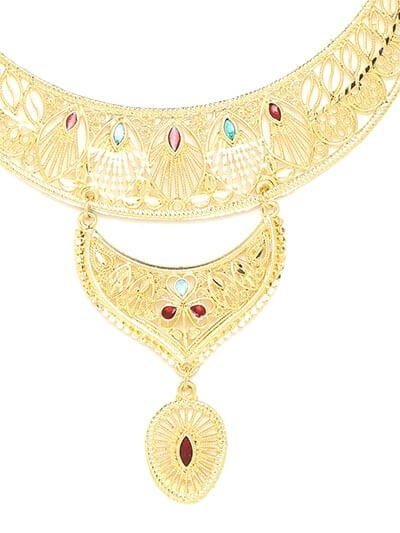 Golden Layered Necklace Set Studded with Red and Green Stones