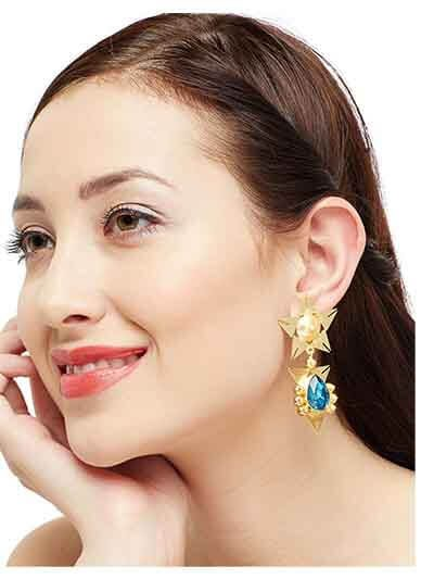War & Peace Indicolite Fashion Trendy Baroque brass based Handcrafted Party Wear Earrings