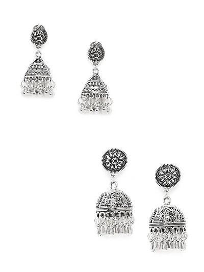 Embellished Silver Oxidized Jhumkas Combo