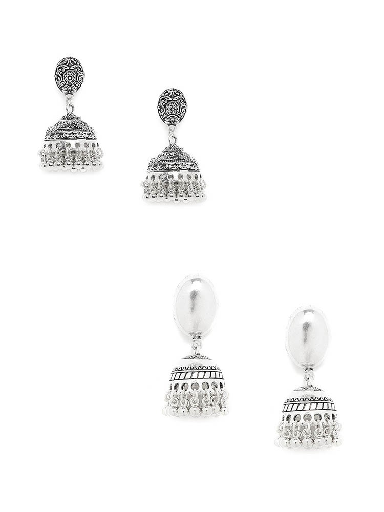 Floral and Patterned Silver Oxidized Jhumkas Combo