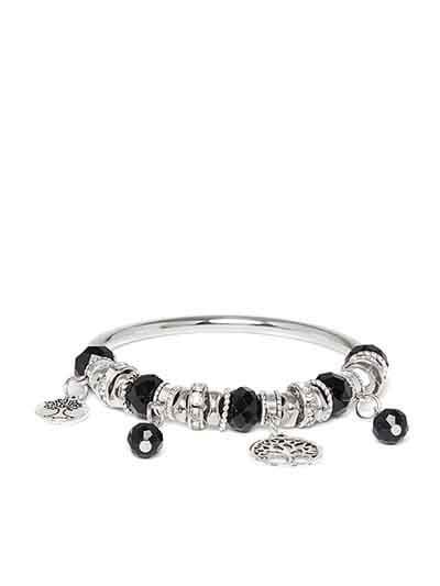 Black and Silver Tree Charm Bracelet