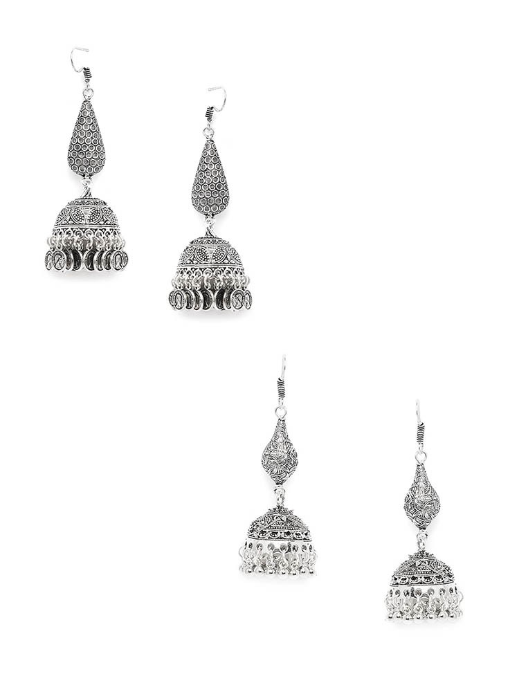 Embellished and Patterned Silver Oxidized Jhumkas Combo