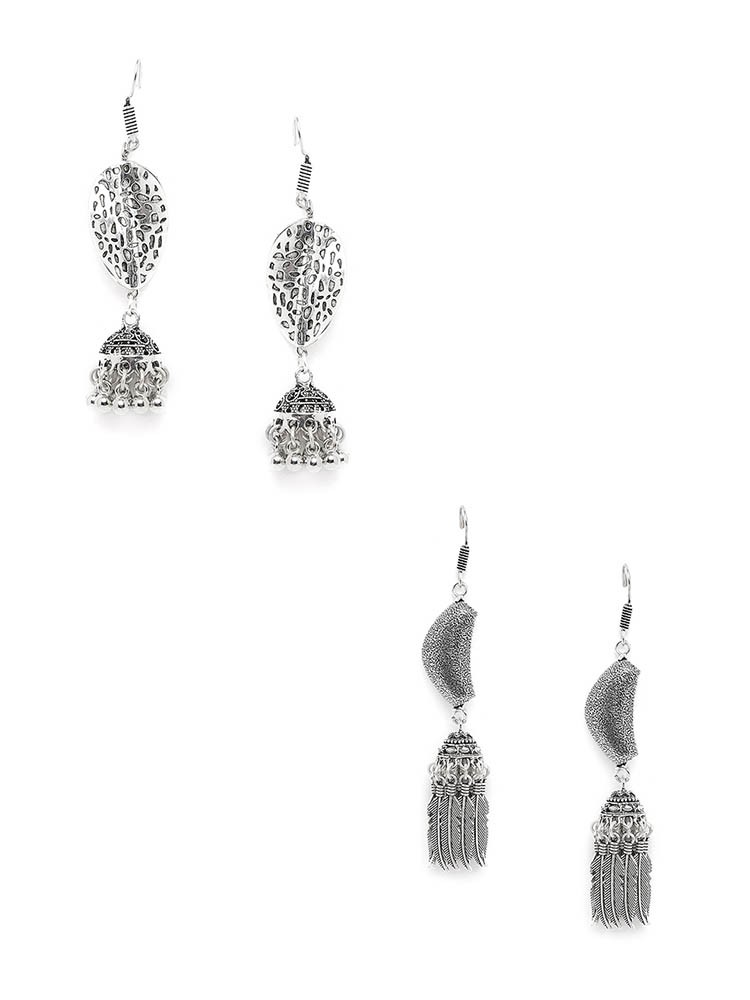 Patterned Silver Oxidized Jhumkas Combo