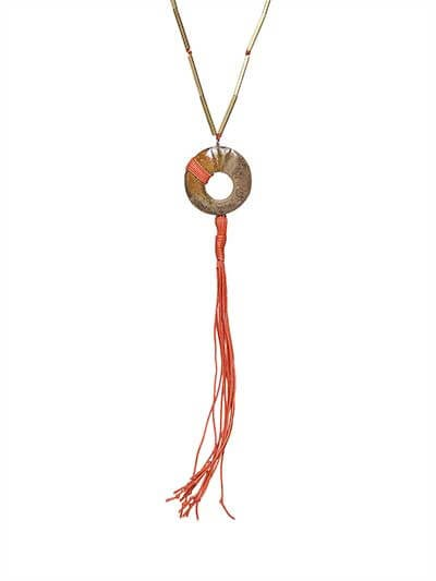 Saffron Threadwork Copper Pendant Statement Necklace