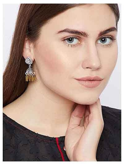 Leafy Tribal Jewellery Short Earrings With Golden Hangings