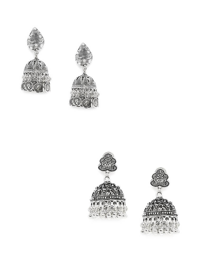 Embellished Oxidized Jhumkas and Floral Oxidized Jhumkas Combo