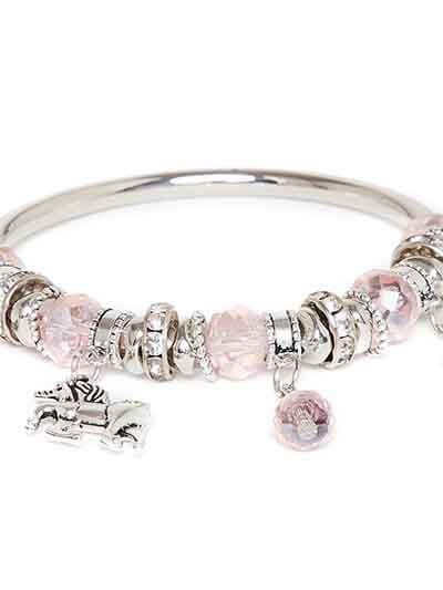Crystal Pink and Silver Horse Charm Bracelet
