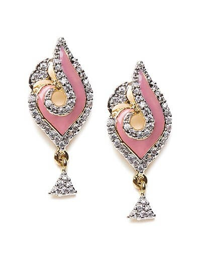 American Diamond Classic Pink Dangle Earrings