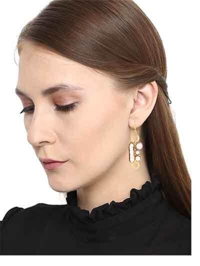 Hanging Pearls Brass Party Wear Earrings
