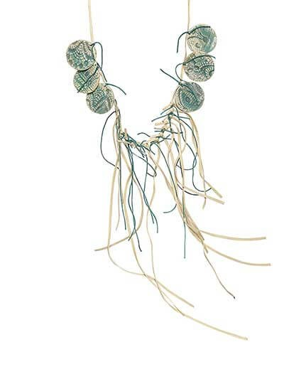 Suave Fringes Nude Teal Coins Statement Necklace