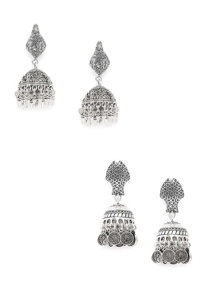 Patterned Oxidized Jhumkas and Oxidized Coin Jhumka Combo