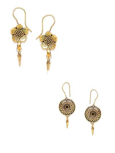 Combo of Two Short Golden Earrings