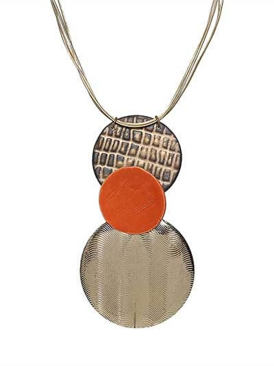 Copper & Brass Saffron pendant Party Statement Necklace