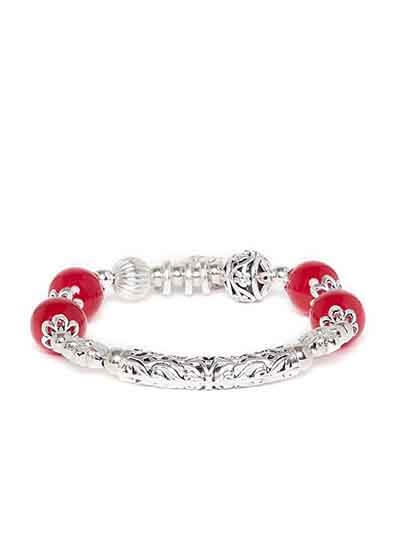 Silver & Cherry Red Beaded Flower Charm Bracelet