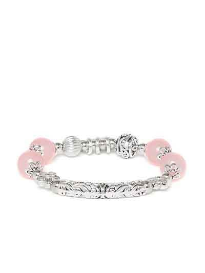 Pink and Silver Heart Charm Bracelet