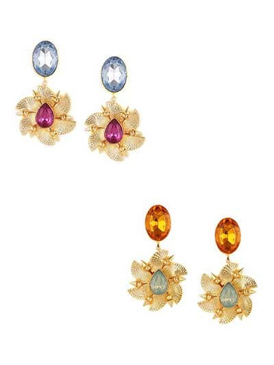 Combo of Two Golden Floral Dangler Earrings