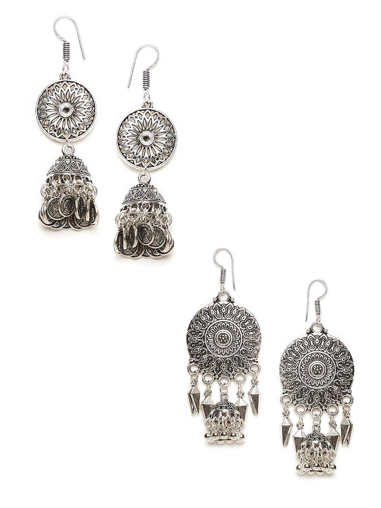 Patterned Circular Oxidized Jhumkas Combo