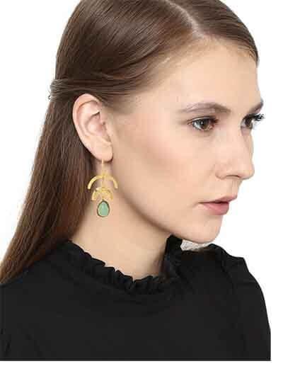 Hanging Aqua Chalcedony Brass Party Wear Earrings