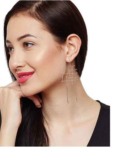 Luizza Silver Nine To Wine Geometric Sculpted Handcrafted 9 to 5 Office Wear Jewellery Earrings