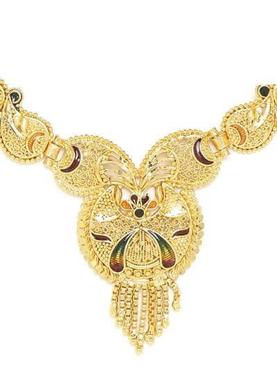 Golden Necklace Set with Crescent Motifs