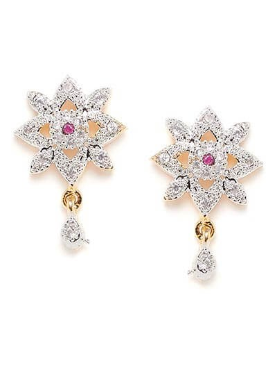 American Diamond Floral Stud Earrings with a Red Stone