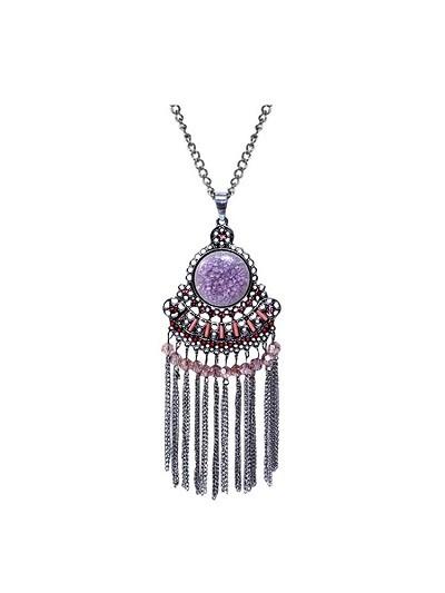Studded Scarlet Tassel Fashion Necklace
