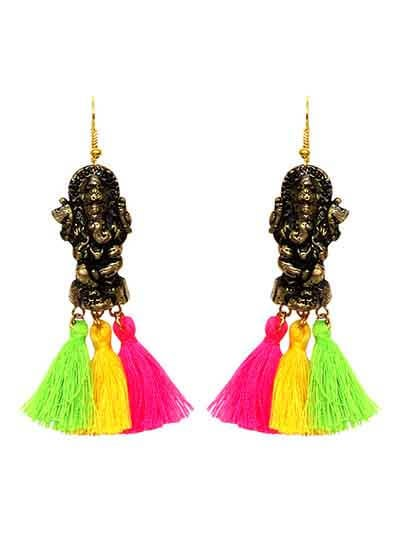 Ethnic Ganesha Pom Pom Earrings