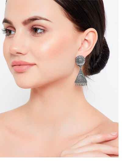 Dainty Tribal Jewellery Silver Plated Danglers