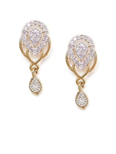 American Diamond Oval Dangle Earrings