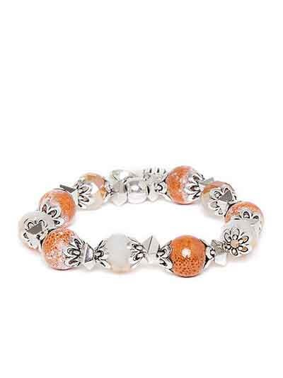 Brown and Silver Hands of Allah Charm Bracelet