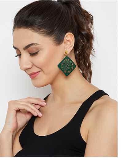 Green Square Metal Earrings