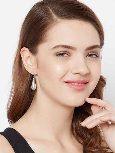 Oxidized Silver Drop Earrings For Women