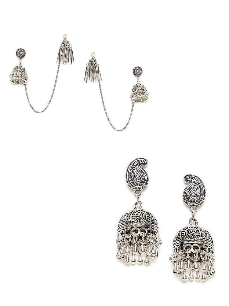 Kashmiri Oxidized Jhumkas and Peacock Motifs Oxidized Jhumkas Combo