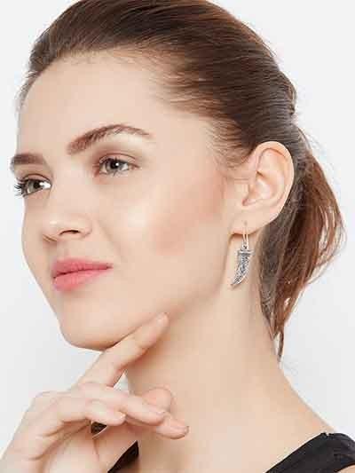Oxidized Silver Sword Earrings
