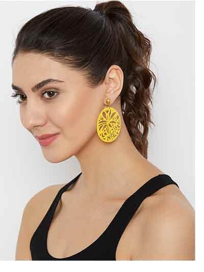Yellow Disc Metal Earrings