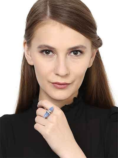 Dual Blue Chalcedony Bead Handmade Jewellery ring