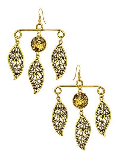 Gold Leaf Hanger Handmade Jewellery Earrings