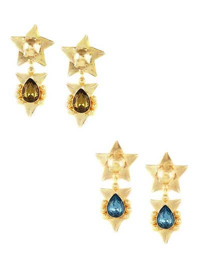Combo of Two Contemporary Golden Star Earrings